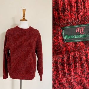 Vintage 80's A&F Marled Red & Black Wool Sweater